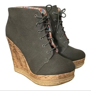Call it Spring military green cork wedge bootie 8
